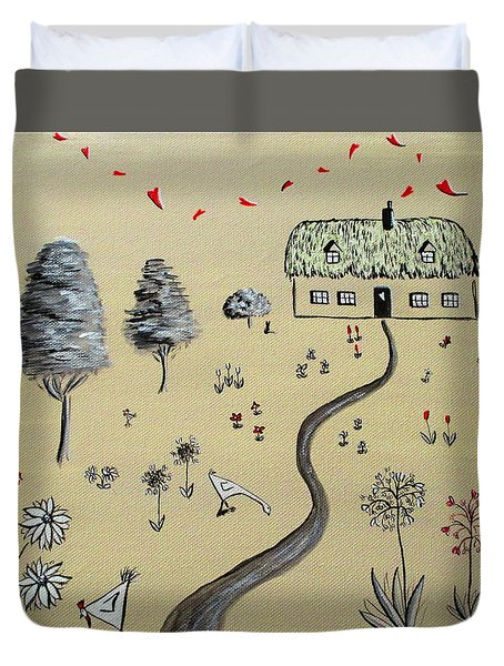 Heart Cottage Red 1  Duvet Cover