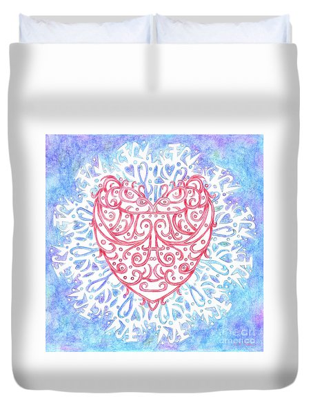 Heart In A Snowflake II Duvet Cover