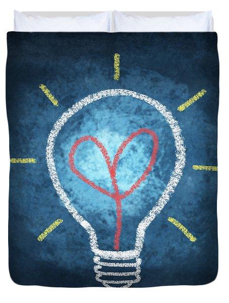 Heart In Light Bulb Duvet Cover by Setsiri Silapasuwanchai