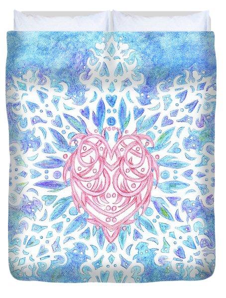 Heart In Snowflake Duvet Cover