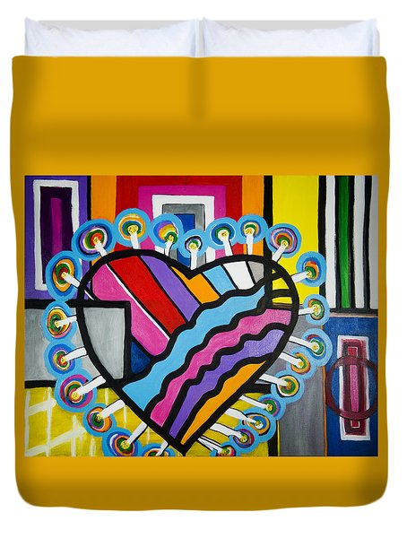Duvet Cover featuring the painting Heart by Jose Rojas