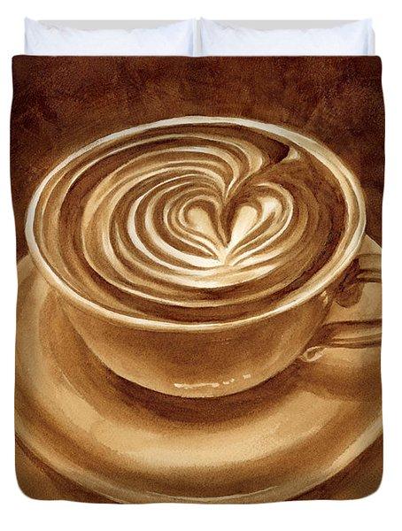 Heart Latte Duvet Cover