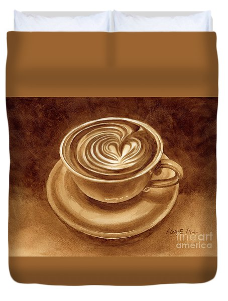 Duvet Cover featuring the painting Heart Latte by Hailey E Herrera