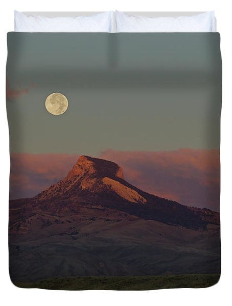 Heart Mountain And Full Moon-signed-#0273  #0273 Duvet Cover by J L Woody Wooden