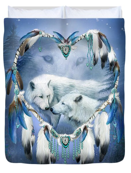 Duvet Cover featuring the mixed media Heart Of A Wolf 3 by Carol Cavalaris