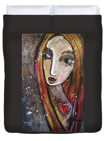 Duvet Cover featuring the painting Heart Of Gold by Laurie Maves ART