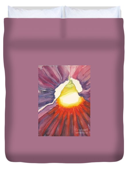 Duvet Cover featuring the painting Heart Of The Flower by Inese Poga
