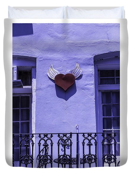 Heart On Wall Duvet Cover by Garry Gay
