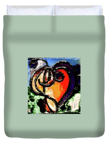 Duvet Cover featuring the painting Heart Robin Treble by Genevieve Esson