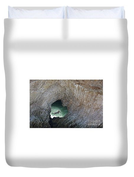 Heart Rock Otter Duvet Cover