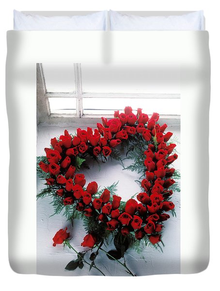 Heart Shape Made Of Roses Duvet Cover by Garry Gay