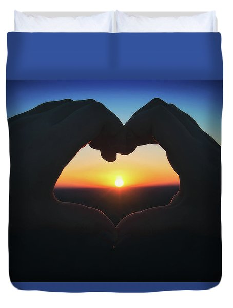 Heart Shaped Hand Silhouette - Sunset At Lapham Peak - Wisconsin Duvet Cover by Jennifer Rondinelli Reilly - Fine Art Photography