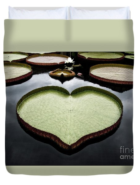 Heart Shaped Lily Pad Duvet Cover