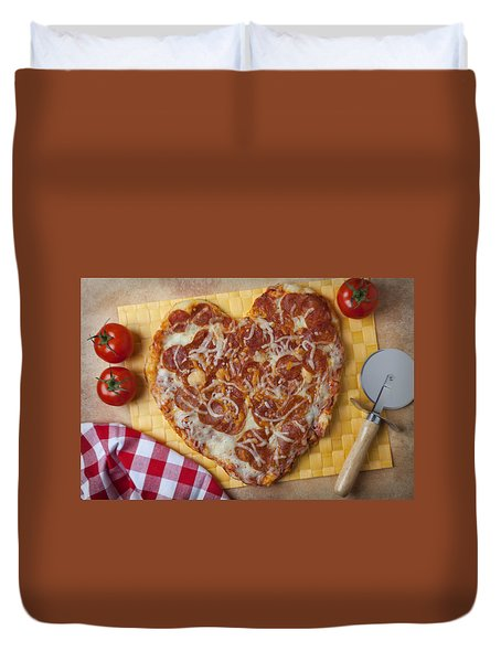 Heart Shaped Pizza Duvet Cover by Garry Gay