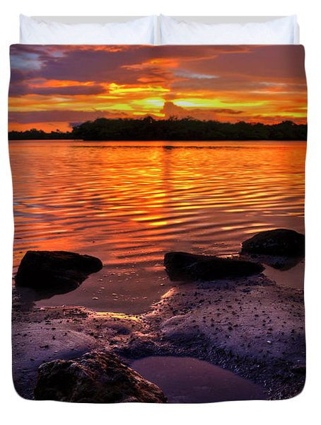 Heart Shaped Pool At Sunset Over Lake Worth Lagoon On Singer Island Florida Duvet Cover