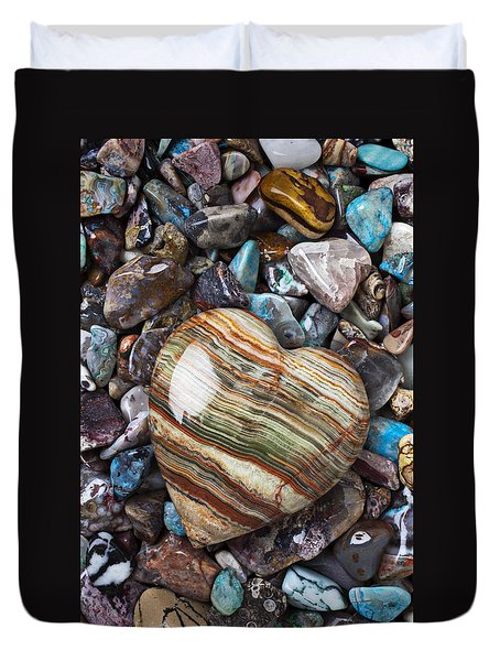 Heart Stone Duvet Cover by Garry Gay