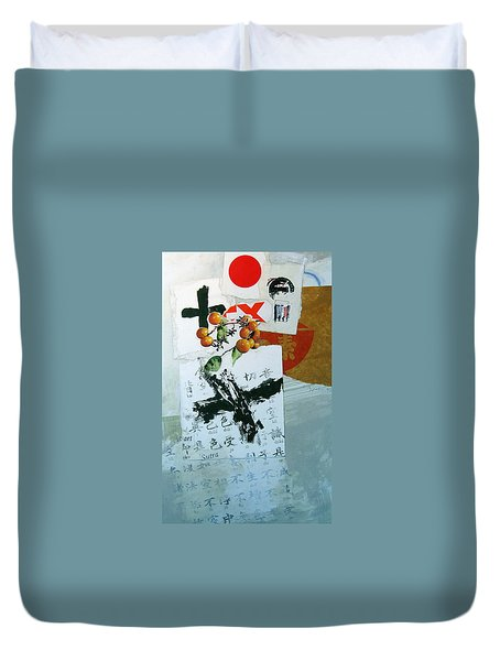 Duvet Cover featuring the painting Heart Sutra by Cliff Spohn