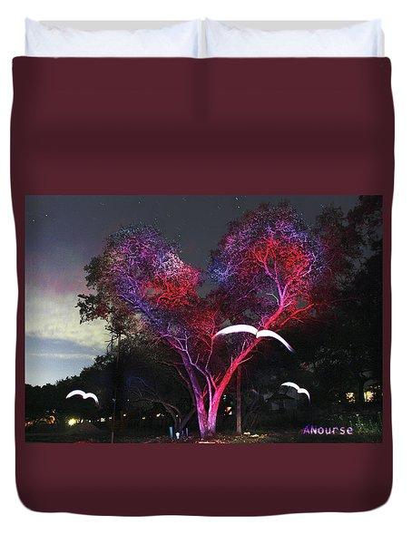 Heart Tree And Birds Duvet Cover by Andrew Nourse