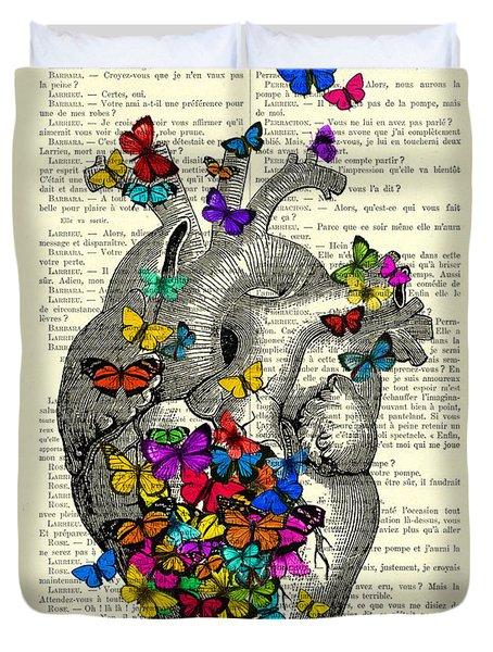 Heart With Rainbow Butterflies Duvet Cover