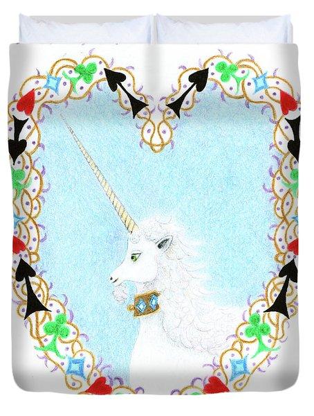Heart With Unicorn Duvet Cover