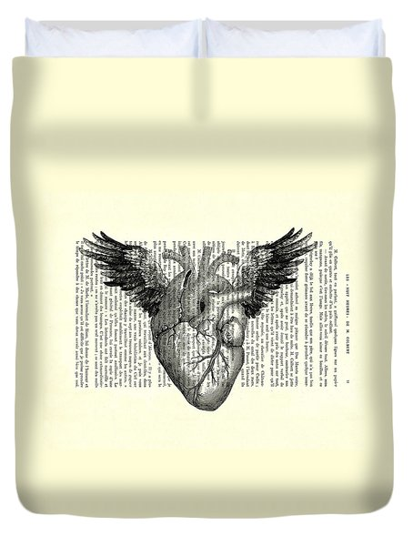 Heart With Wings In Black And White Duvet Cover