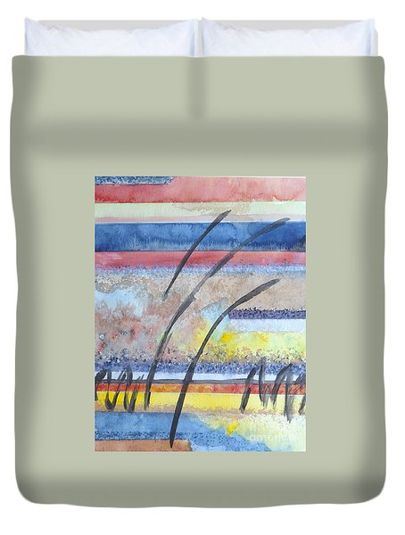 Duvet Cover featuring the painting Heartbeat by Jacqueline Athmann