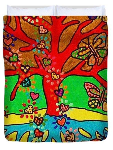 Hearts Grow Into Butterflies Duvet Cover by Sandra Silberzweig