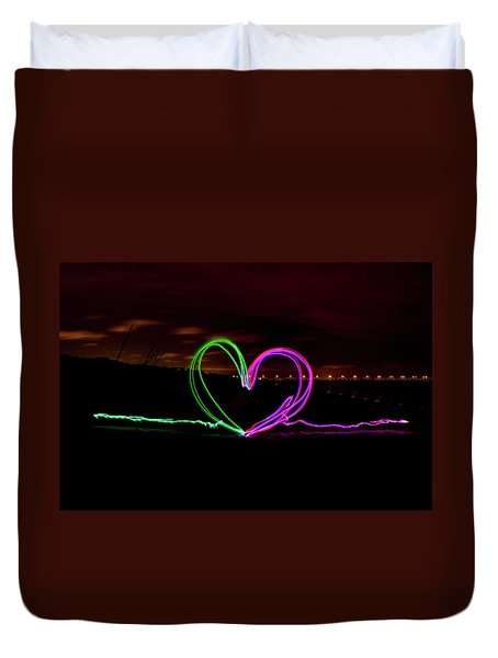 Hearts In The Night Duvet Cover