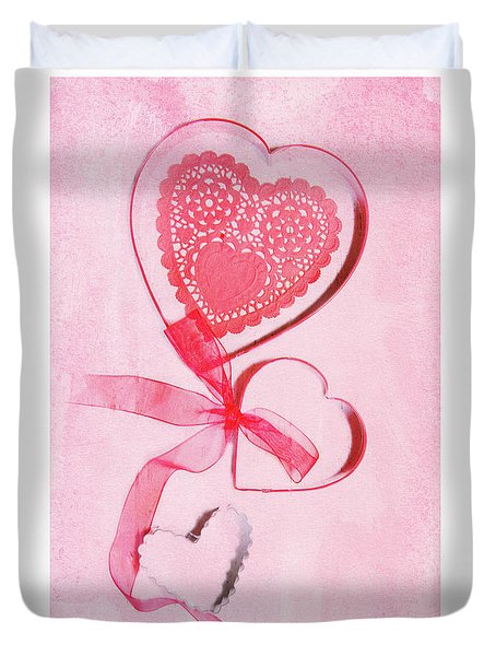 Duvet Cover featuring the photograph Hearts by Rebecca Cozart