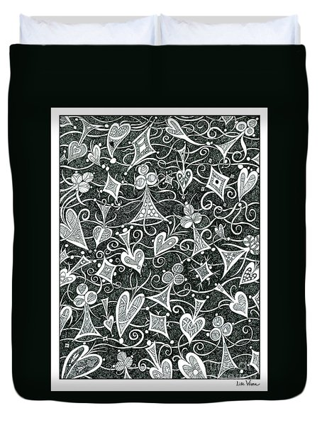 Hearts, Spades, Diamonds And Clubs In Black Duvet Cover