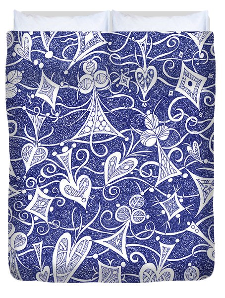 Hearts, Spades, Diamonds And Clubs In Blue Duvet Cover