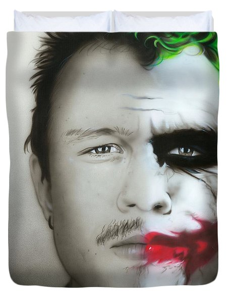 ' Heath Ledger / Joker ' Duvet Cover by Christian Chapman Art