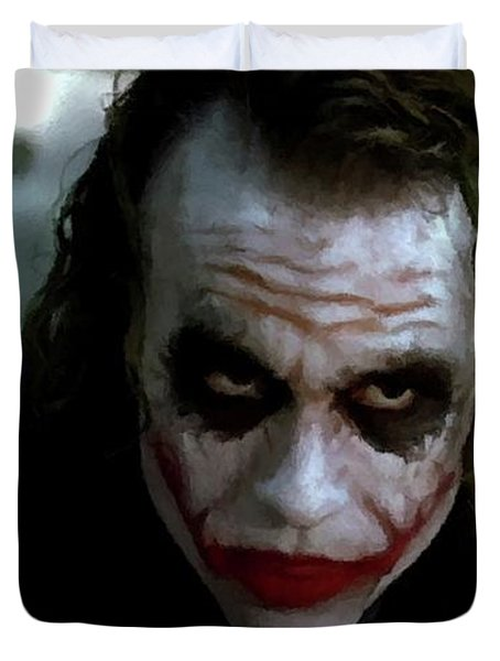 Heath Ledger Joker Why So Serious Duvet Cover by David Dehner