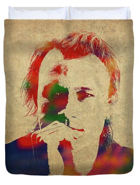 Heath Ledger Watercolor Portrait Duvet Cover