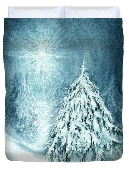 Duvet Cover featuring the painting Heaven And Nature Sing  by Janine Riley