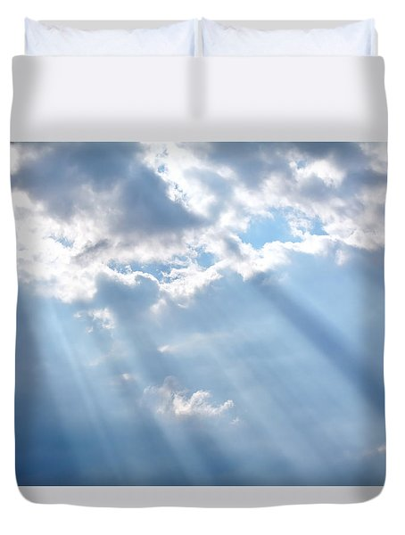 Heaven Opening Up Duvet Cover by Cathy Jourdan