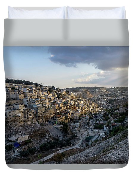 Heaven Shines On The City Of David Duvet Cover