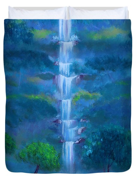 Duvet Cover featuring the painting Heavenly Falls by Stacey Zimmerman