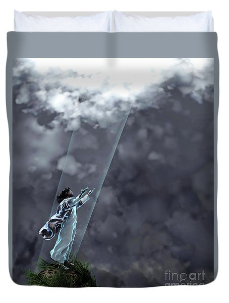 Duvet Cover featuring the sculpture Heavenly Father by Dave Luebbert