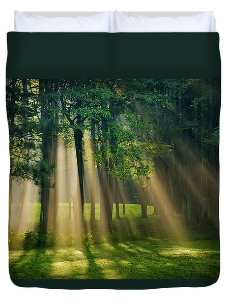 Duvet Cover featuring the photograph Heavenly Light Sunrise by Christina Rollo