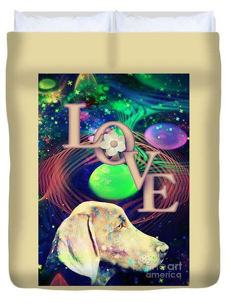 Duvet Cover featuring the digital art Heavenly Love by Kathy Tarochione