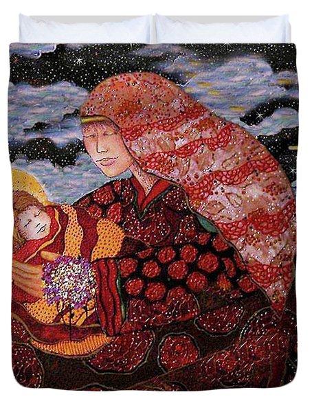 Heavenly Mother And Child Duvet Cover by Dede Shamel Davalos