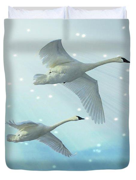 Heavenly Swan Flight Duvet Cover