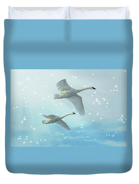 Duvet Cover featuring the photograph Heavenly Swan Flight by Patti Deters