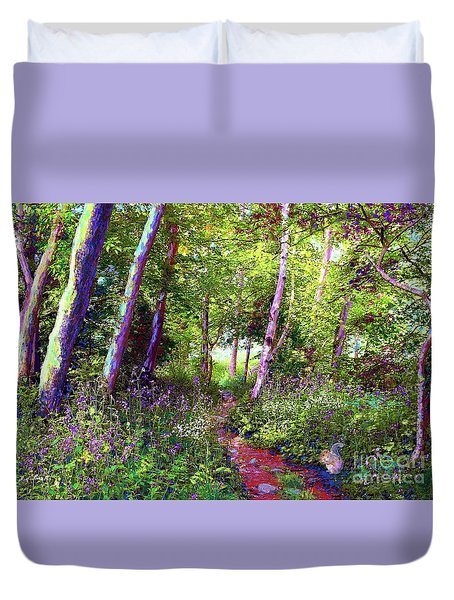 Duvet Cover featuring the painting Heavenly Walk Among Birch And Aspen by Jane Small
