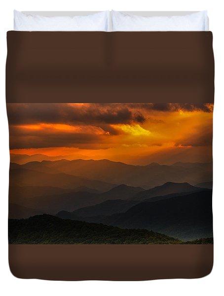 Heaven's Light On The Blue Ridge Parkway Duvet Cover