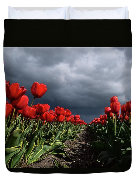 Heavy Clouds Over Red Tulips Duvet Cover by Mihaela Pater
