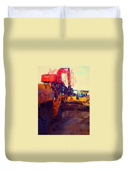 Heavy Equipment Graffiti Duvet Cover