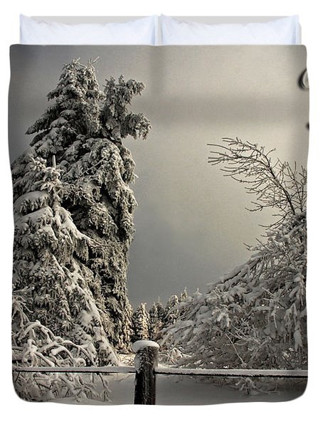 Heavy Laden Christmas Card Duvet Cover by Lois Bryan