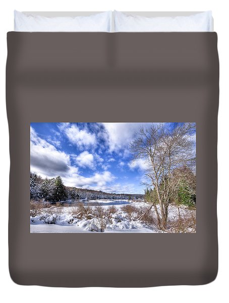 Duvet Cover featuring the photograph Heavy Snow At The Green Bridge by David Patterson